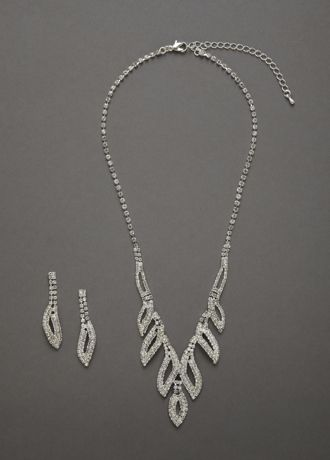 Crystal Leaf Design Necklace and Earring Set - This beautiful statement necklace and earring set looks