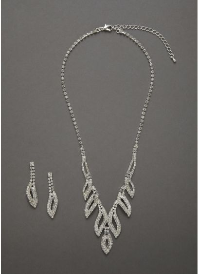 Crystal Leaf Design Necklace and Earring Set - Wedding Accessories