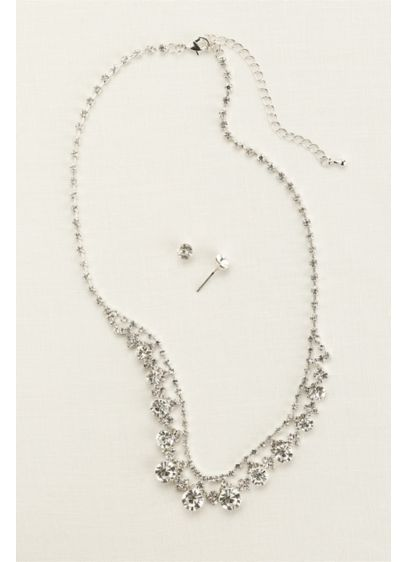 David's Bridal Grey (Classic Crystal Necklace and Earring Set)