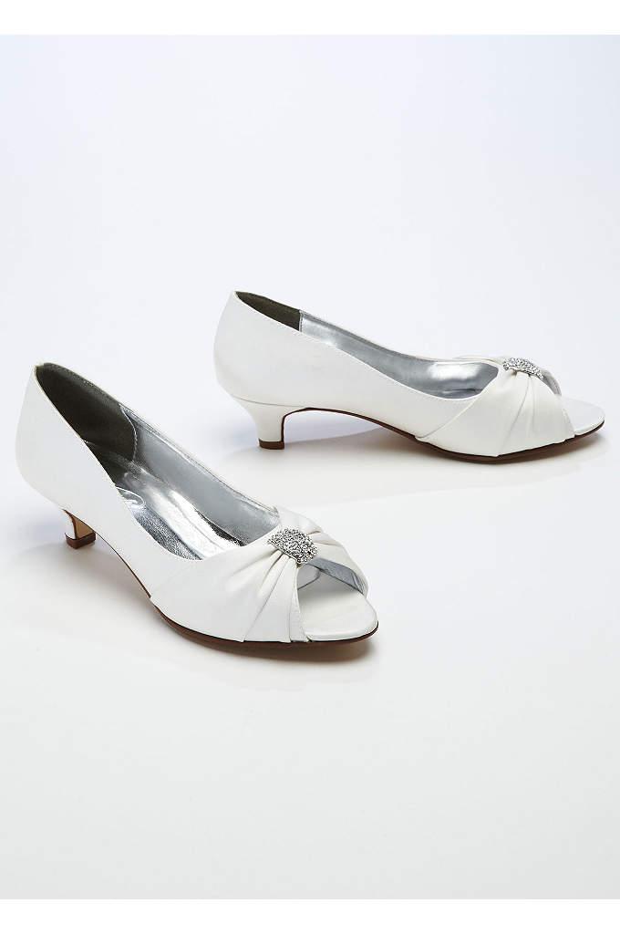 Satin Peep Toe Sandal with Crystal Ornament