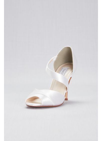Touch Ups White (Dyeable Satin Peep-Toe Pumps with Asymmetric Strap)