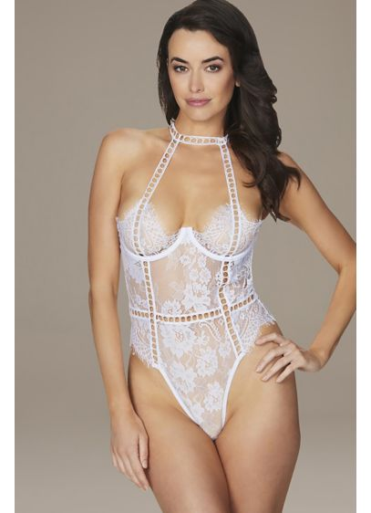 Open-Back Lace Halter Teddy with Ladder Detail - This sheer and alluring teddy is crafted of