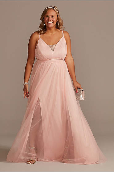 Plus Size Tulle Illusion Plunge A-Line Gown