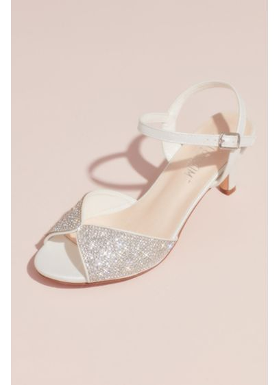 Crystal Peep-Toe Heeled Sandals with Satin Accents - Perfect for the classic, vintage-inspired, or modern bride,