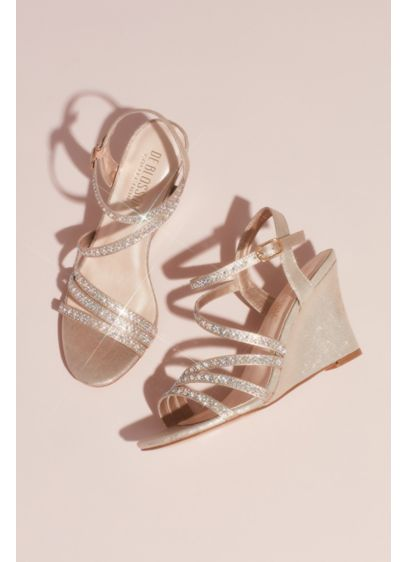 Blossom Ivory (Strappy Low Wedges with Crystal Details)