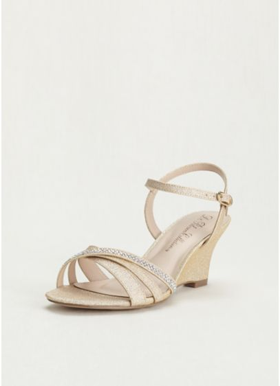 1d0e3326cec30c Rhinestone Embellished Low Wedge Sandal. AFIELD2. Beige Soft   Flowy  Bridesmaid Dress