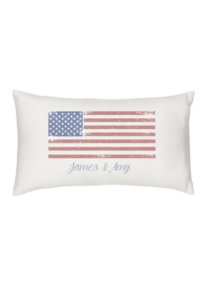 Personalized American Flag Lumbar Pillow - The Personalized American Flag Lumbar Pillow is the