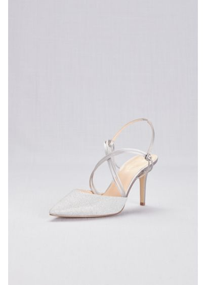 American Glamour Grey (Strappy Glitter Mesh Pointy Toe Heels)