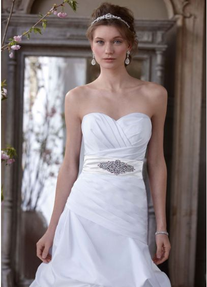 Dropped Waist Strapless Sweetheart Wedding Gown - Stunning lines and graceful construction, this ball gown