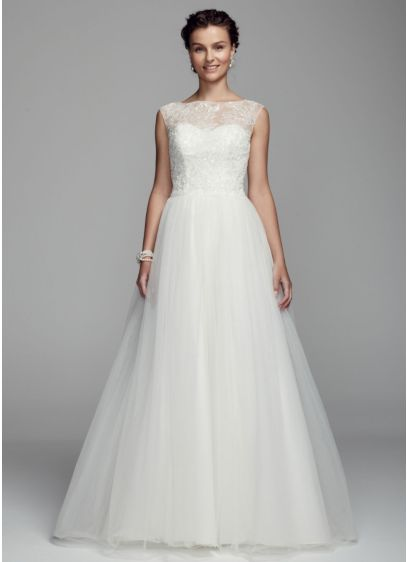 Cap Sleeve Tulle Ball Gown with Illusion Neckline | David\'s Bridal