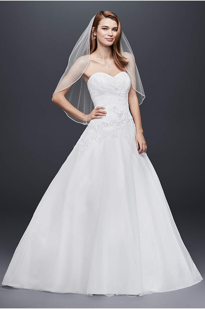 As-Is Strapless Tulle Wedding Dress with Lace - Be the belle of the ball as you