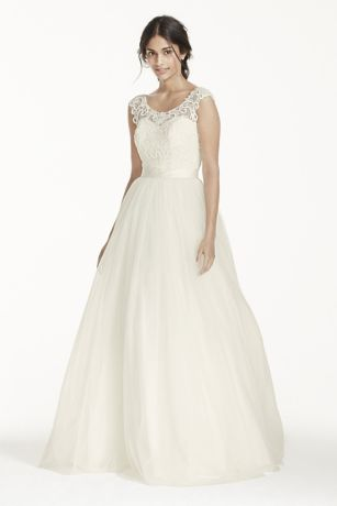 A Line Lace Wedding Dresses with Illusion Neckline