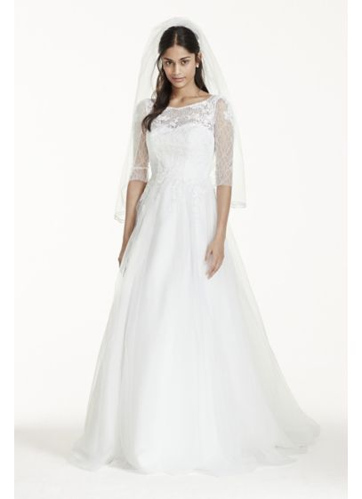 6c04047ac ... 3/4 Sleeve Wedding Dress with Lace and Tulle. AI10012389. Long Ballgown  Wedding Dress -