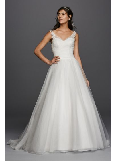 As-Is Tulle Wedding Dress with Illusion Straps - A classic tulle ball gown with beautiful details,