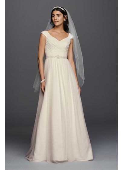 As-Is Tulle A-line Wedding Dress with Beaded Sash - This A-line wedding dress with a V-neckline and