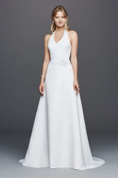 White Halter Wedding Dress | As Is Halter V Neck Wedding Dress With Flower David S Bridal