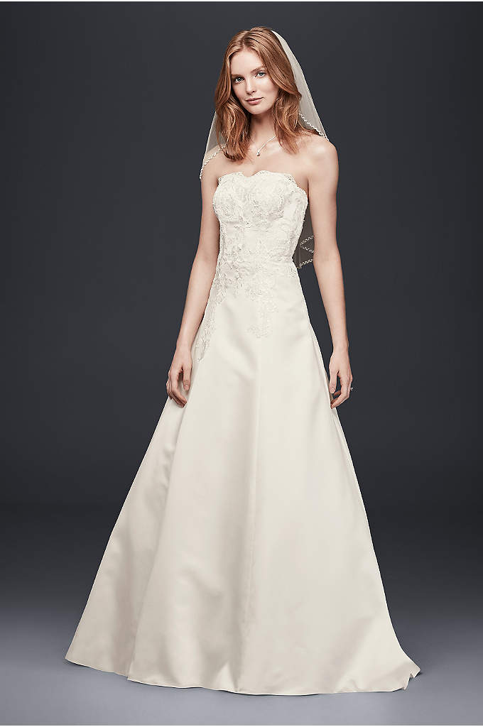 As-Is Strapless Satin A-Line Wedding Dress - This A-line wedding dress is the very picture
