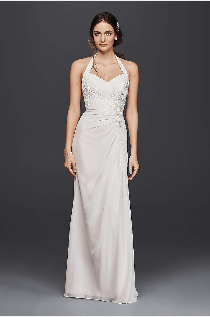 As-Is Sheath Wedding Dress with Lace Appliques - Add a little Hollywood glamour to your wedding