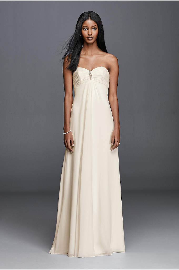 As-Is Strapless Chiffon Aline Wedding Dress - You can have casual and still be very