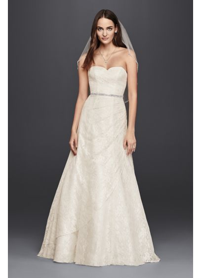 As-Is Lace A-Line Strapless Wedding Dress - This A-line wedding dress embodies effortless classic elegance