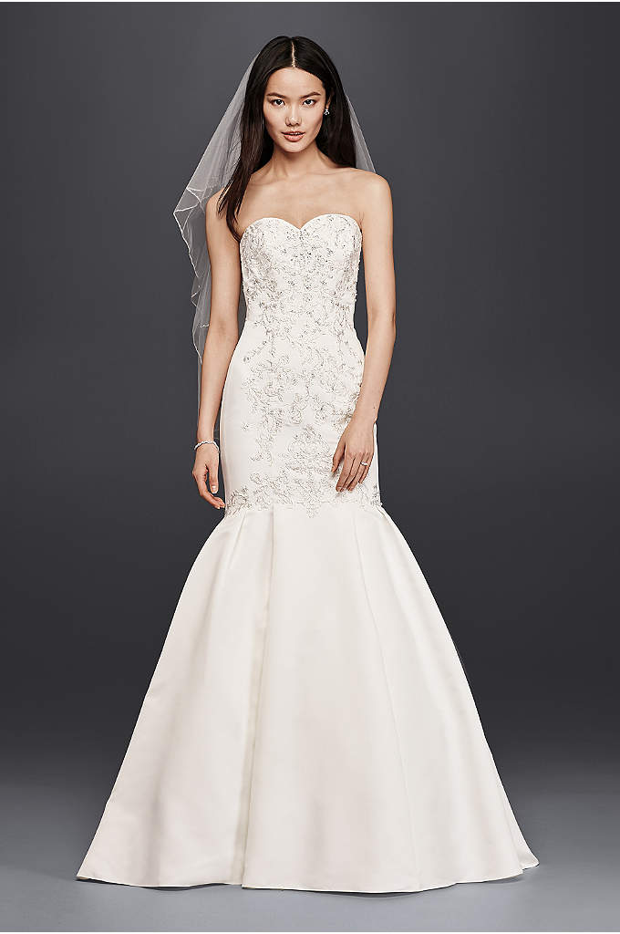 As-Is Trumpet Wedding Dress with Lace Bodice - Designed to spotlight your beautiful curves, this mermaid