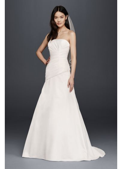 As Is Strapless Satin A Line Wedding Dress