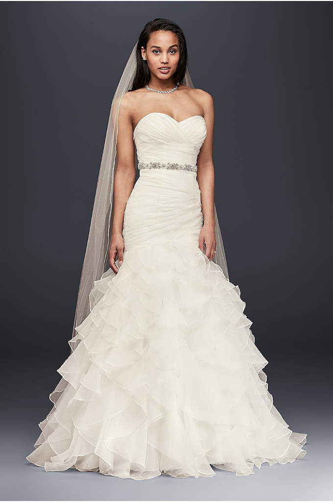 As-Is Organza Mermaid Wedding Dress with Ruffles - Precise pleats and romantic ruffles offer a contrast