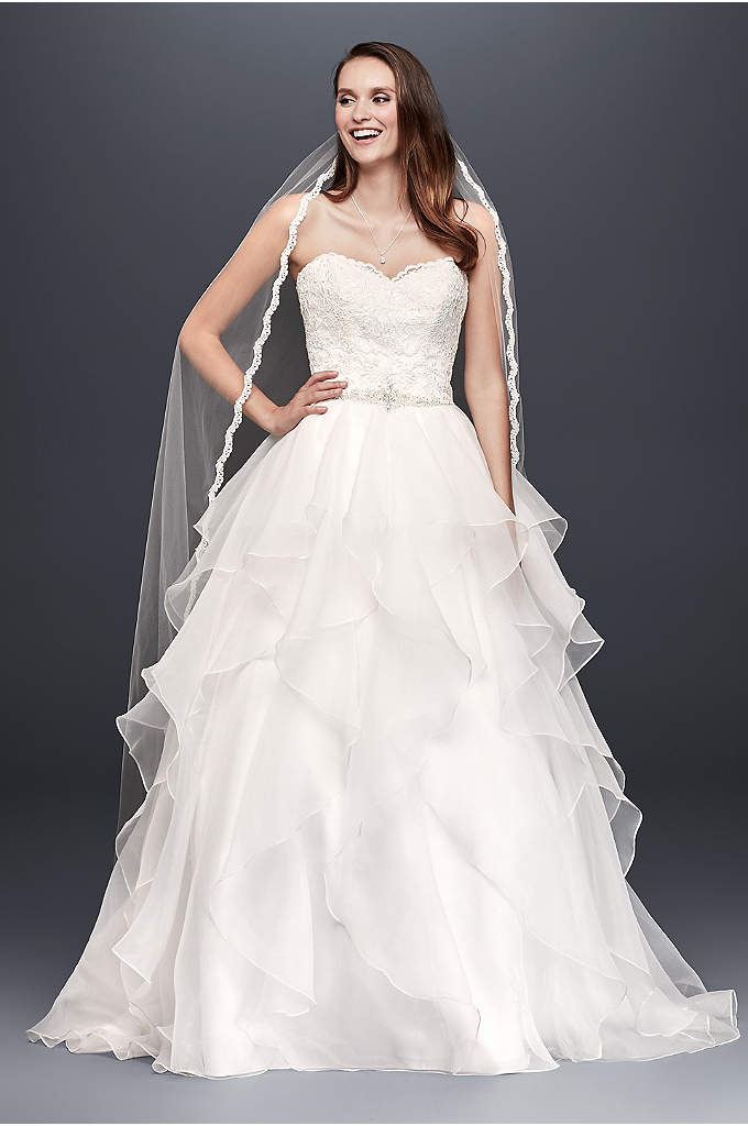 As-Is Organza Wedding Ball Gown with Beading - With a wedding dress this romantic, only a