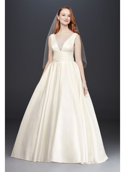 As-Is Satin Cummerbund Ball Gown Wedding Dress - A traditional wedding dress with just a hint
