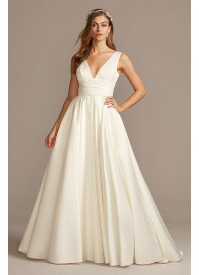 As Is Cummerbund Satin Ball Gown Wedding Dress - A traditional wedding dress with just a hint