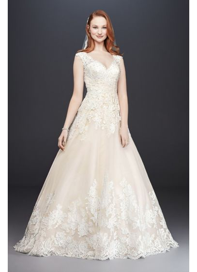 As-Is Scalloped V-Neck Tulle Wedding Dress - Princess dreams come true in a traditional ball