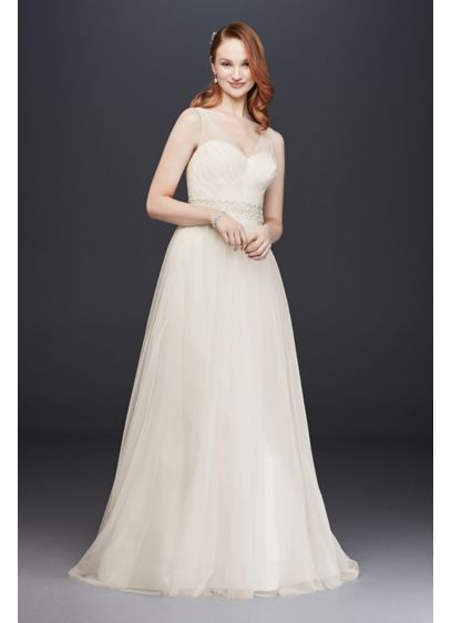As-Is Tulle A-Line Wedding Dress with Beaded Waist - Simple and elegant, this timeless tulle A-line dress