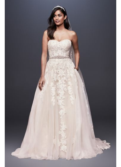 As-Is Sheer Lace and Tulle Ball Gown Wedding - Delightfully alluring, the lace-appliqued, semi-sheer bodice of this