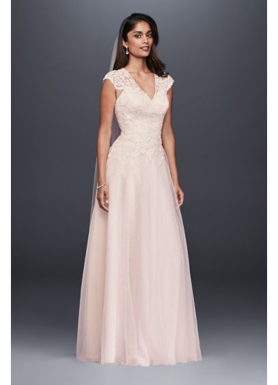As-Is Tulle-Over-Lace V-Neck A-Line Wedding Dress - Lace appliques trail from the V-neck, cap-sleeve bodice
