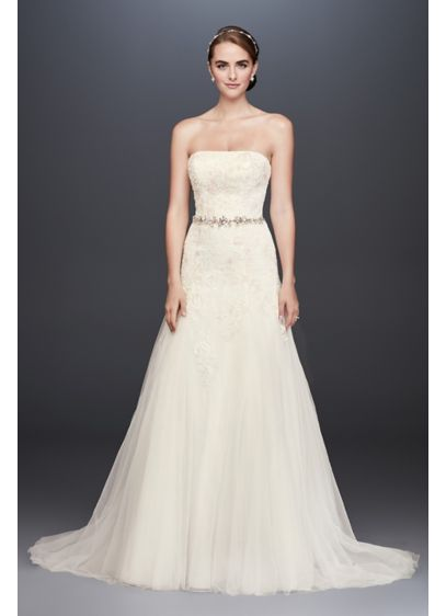 As-Is Lace-Appliqued Tulle A-Line Wedding Dress - A straight neckline gives this strapless A-line wedding