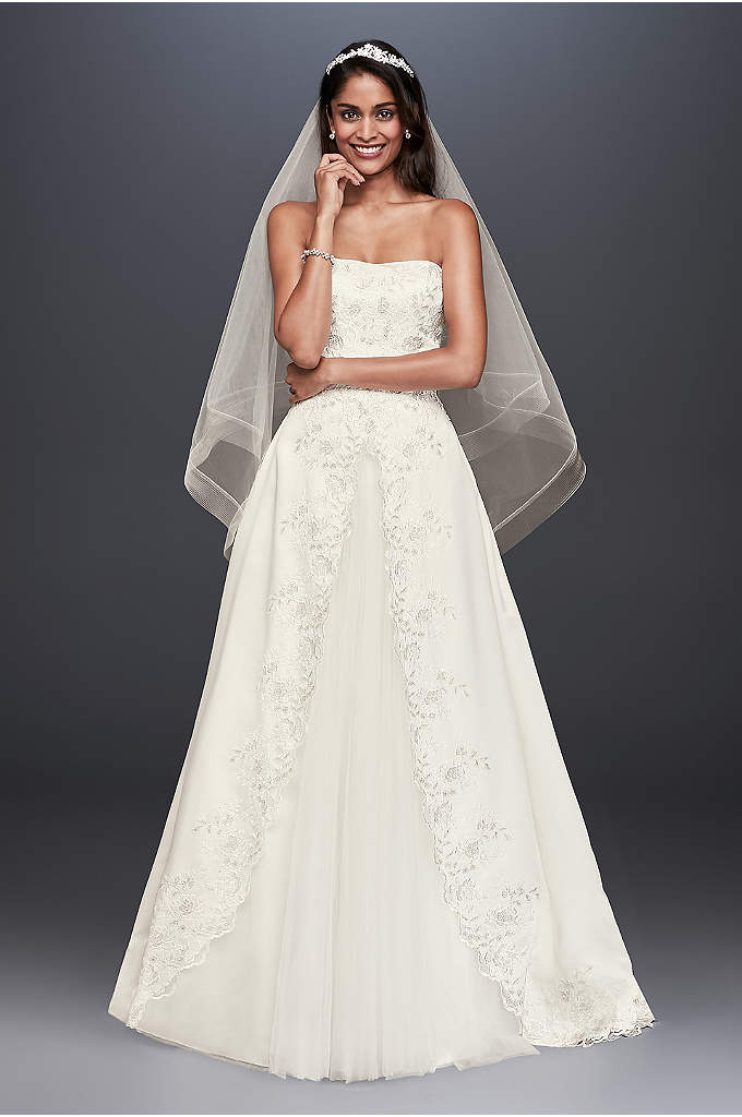 As-Is Satin Embroidered Ball Gown Wedding Dress - A traditional beauty, this satin ball gown is