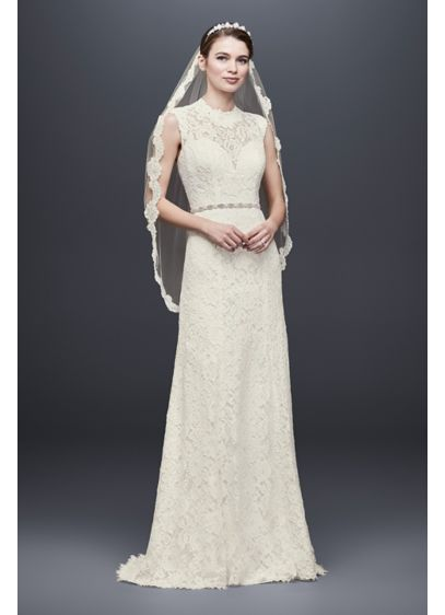 As-Is Allover Lace Cap Sleeve Sheath Wedding Dress - This cap sleeve sheath wedding dress is simply