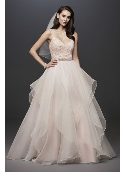 As-Is Garza Ball Gown Wedding Dress with Straps - This Garza ball gown features an encrusted ballerina