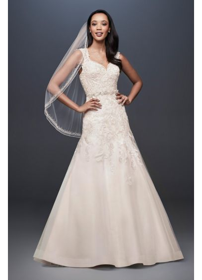 As-Is Tulle Cap Sleeve Mermaid Wedding Dress - This cap sleeve mermaid wedding dress features an