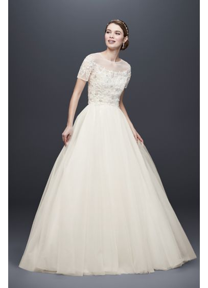 As-Is Short Sleeve Tulle Ball Gown with Topper - This tulle wedding dress lets you switch up