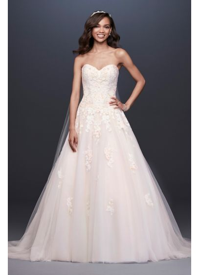 As-Is Embroidered Applique Ball Gown Wedding Dress - Beaded floral lace appliques bloom in the faintest