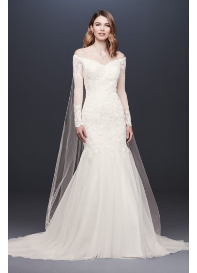 As-Is Long Sleeve Off-the-Shoulder Wedding Dress - The beauty is in the details of this