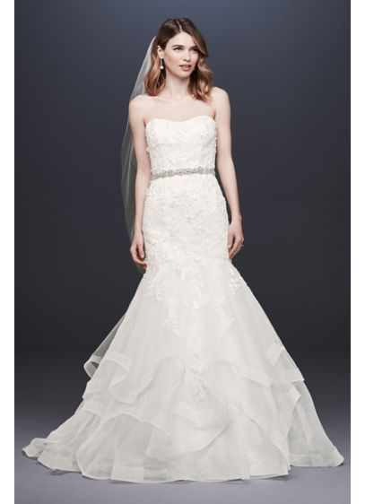 As-Is Appliqued Tulle-Over-Lace Wedding Dress - The dramatic horsehair-edged skirt and floral appliques of