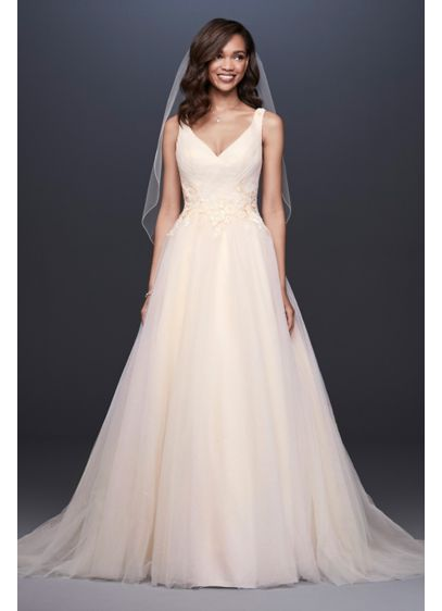 Ivory (As-Is Appliqued Glitter Tulle A-Line Wedding Dress)