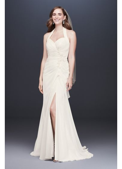 As-Is Halter Pleated Sheath Wedding Dress - Pleats, beads, and tonal embroidery define the waistline