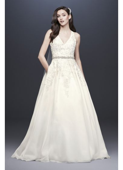 As-Is Illusion Back Organza Halter Wedding Dress - The beautifully beaded lace appliques that embellish the