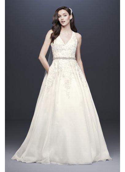 Ivory (As-Is Illusion Back Organza Halter Wedding Dress)