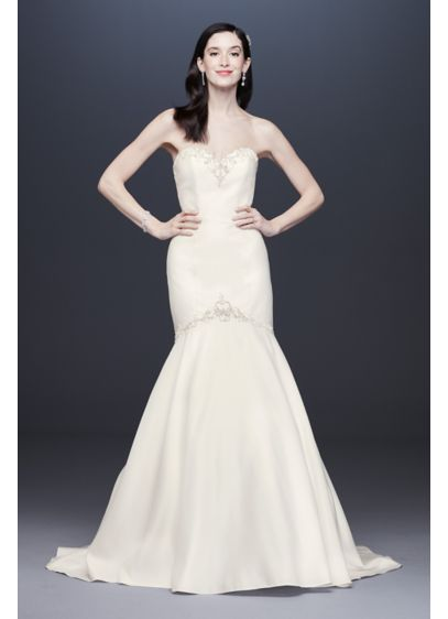 As-Is Beaded Sweetheart Mermaid Wedding Dress - Smooth, sleek and sophisticated, this form-fitting strapless satin