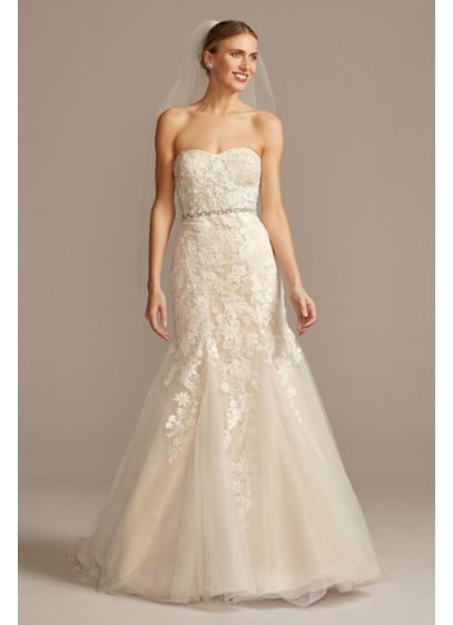 Ivory (As Is Beaded Lace and Tulle Mermaid Wedding Dress)