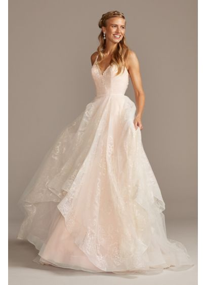 As Is Glitter and Tulle Layered Wedding Dress - Bold blooms outlined in sparkling glitter are covered